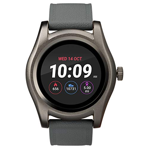 iConnect by Timex Gunmetal Round Smartwatch, Gray Silicone Strap