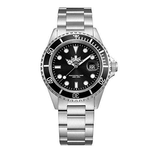 Phoibos Men's PX002C 300M Dive Watch Swiss Quartz Black Sport Watch ...