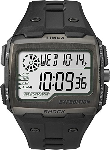 Timex Men Grid Shock LCD/Black Dial with Black Resin Strap Watch
