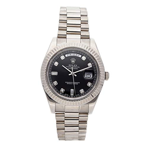 Rolex Day-Date II Mechanical (Automatic) Black Dial Mens Watch 218239 (Certified Pre-Owned)