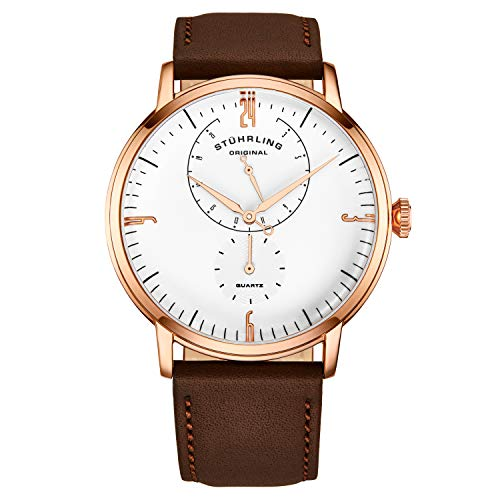 Stührling Original Mens Watches Horween Brown Leather Watch Band - Minimalist Analog Dress Watch - Wrist Watch Domed Crystal - Mens Watch - 24 Hour Subdial- Watches for Men