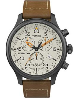 Timex Men's Expedition Field Chrono Analog Quartz Leather Strap, Brown