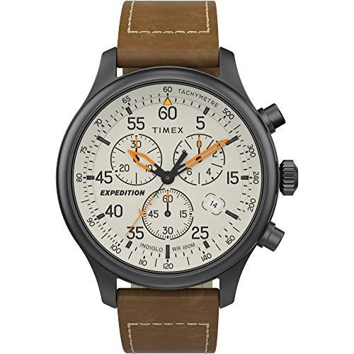 Timex Men's Expedition Field Chrono Analog Quartz Leather Strap, Brown