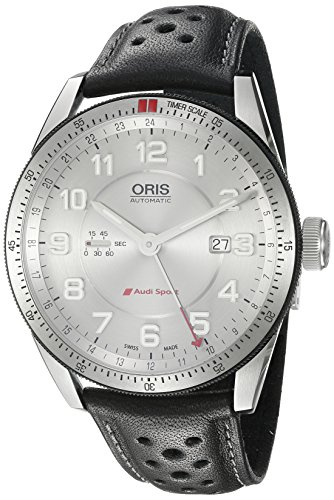 Oris Men's Audi Stainless Steel Swiss-Automatic Watch with Leather Calfskin Strap, Black, 21 (Model: 74777014461LS)