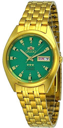 Orient #FAB00001N Men's 3 Star Standard Gold Tone Green Dial Automatic Watch
