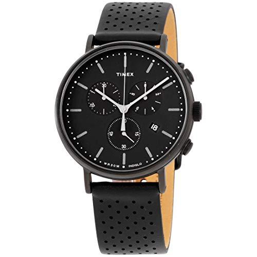 Timex Unisex Fairfield Chrono Leather Black/Black One Size
