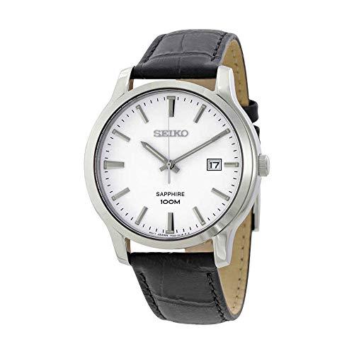 Seiko Quartz Sapphire Silver Tone Dial Leather Band Mens Watch SGEH43