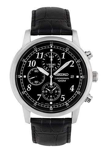 Seiko Men's SNDC33 Classic Black Leather Black Chronograph Dial Watch