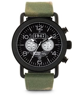 MultiCam Men's Tactical Chronograph Military Watch with Camo Band Strap Set - Featuring Stainless Steel Case, Black Face, Sub Dials, Second Hand, Date, Luminous Glow, Water Resistance, and Gun Case