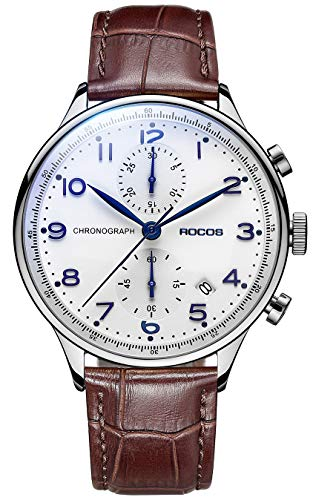 Men's Chronograph Wrist Watches ROCOS Japanese Quartz Watch for Men Waterproof Analog Watch with Genuine Leather and White Dial Luxury Classic Elegant Gift#R0133 (Silver & Brown)