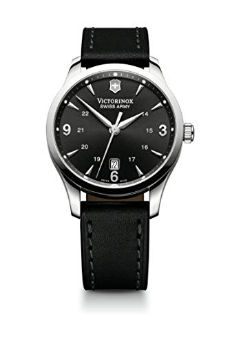 Victorinox Alliance Black Dial Leather Strap Mens Watch