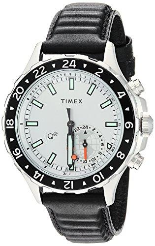 Timex Men's Move Multi-Time Black/White Leather Strap Watch