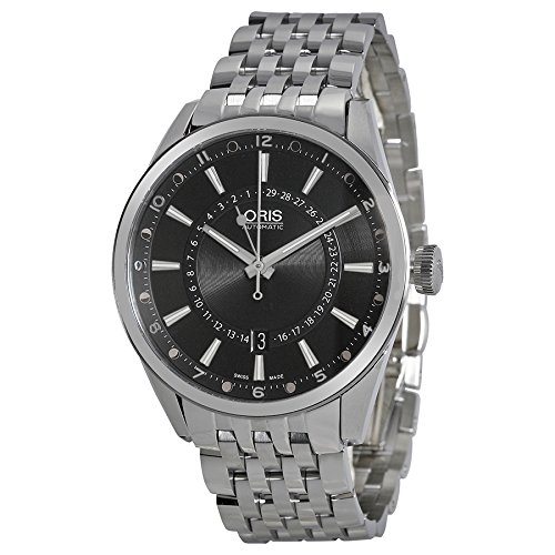 Oris Artix Pointer Moon Black Dial Stainless Steel Mens Watch 761-7691-4054MB