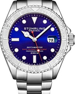 "Mens Swiss Automatic Stainless Steel Professional""DEPTHMASTER"" Dive Watch, 200 Meters Water Resistant, Brushed and Polished Bracelet with Divers Safety Clasp and Screw Down Crown (Blue)"