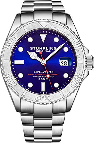 """Mens Swiss Automatic Stainless Steel Professional""""DEPTHMASTER"""" Dive Watch, 200 Meters Water Resistant, Brushed and Polished Bracelet with Divers Safety Clasp and Screw Down Crown (Blue)"""