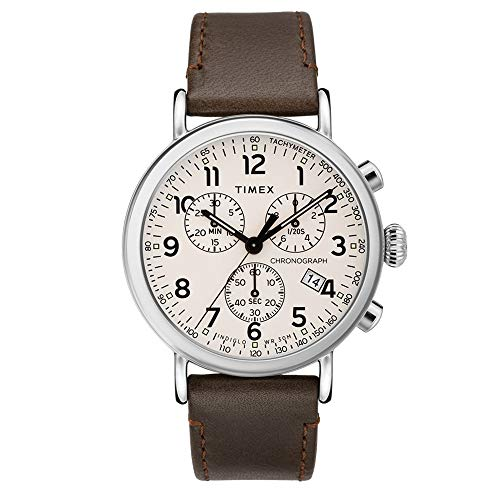 Timex Men's 41 mm Standard Chronograph Leather Strap Cream/Brown One Size