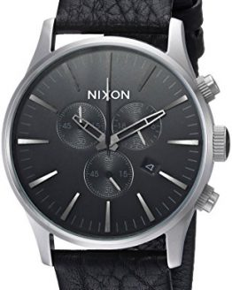 Nixon Men's Sentry Chrono Leather Stainless Steel Japanese-Quartz Watch with Calfskin Strap, Grey, 23 (Model: A4052788)