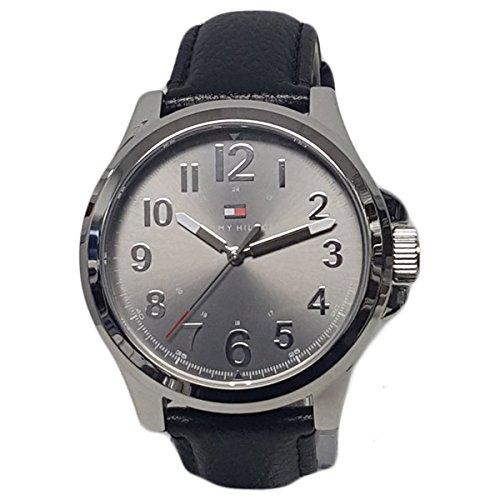 Tommy Hilfiger Men's Grey Dial Black Leather Strap Watch