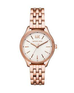 Michael Kors Women's Lexington Quartz Watch with Stainless-Steel-Plated Strap, Rose Gold, 14 (Model: MK6641)
