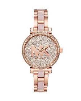 Michael Kors Women's Sofie Quartz Watch with Stainless-Steel-Plated Strap, Rose Gold, 14 (Model: MK4336)