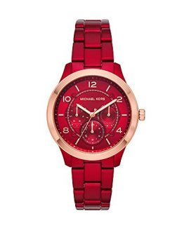 Michael Kors Women's Runway Quartz Watch with Stainless-Steel-Plated Strap, red, 18 (Model: MK6594)