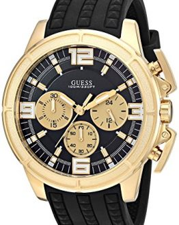 GUESS Men's Stainless Steel Japanese Quartz Watch with Textured Silicone Strap, Black, 21: ((Model: U1115G1))