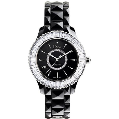 New Ladies Dior VIII Eight Black Ceramic Baguette Diamonds Watch