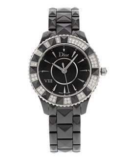 Christian Dior Women's Black Eight Analog Display Swiss Quartz Black Watch