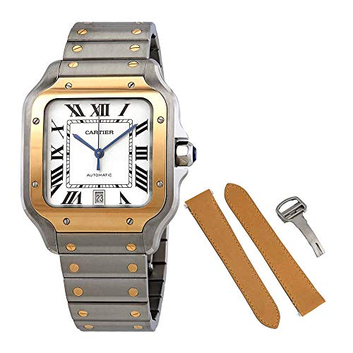Cartier Santos Automatic Silvered Opaline Dial Steel and 18kt Yellow Gold