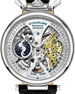 Stührling Original Mens Skeleton Watch Dial Automatic Watch
