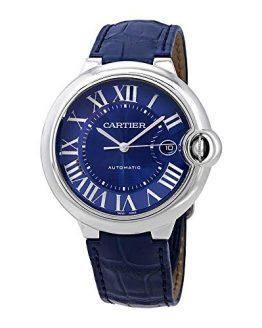 Cartier Ballon Bleu Automatic Blue Dial Men's Leather Watch