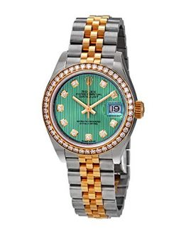 Rolex Lady Datejust Green Stripe Dial Diamond Bezel Automatic Watch 279383GNDJ