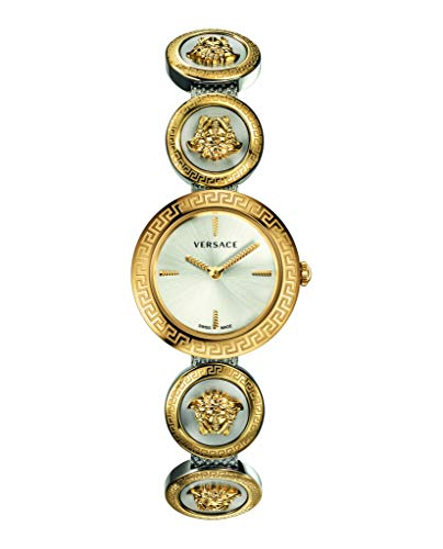 Versace Medusa Ladies Stud Icon Silver Dial Gold-Tone Stainless Steel Watch