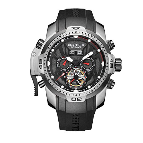 Reef Tiger Men's Sport Watches Stainless Steel Case Rubber Strap Military Watches