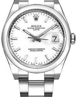 Women's Rolex Oyster Perpetual Date 34 White Dial Luxury Watch Ref. 115200