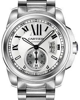 Cartier Men's Calibre de Cartier Silver-Tone Stainless Steel Opaline Dial Watch