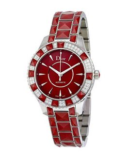Christian Dior Christal Red Dial Stainless Steel with Sapphire Inserts Ladies Watch