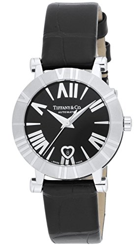 Tiffany & Co. Watch Atlas Black Dial Automatic Winding Alligator Leather Belt