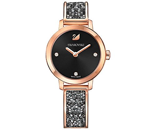 Ladies' Swarovski Cosmic Rock Black Dial Rose Gold Tone Watch