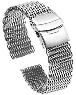 Solid Shark Mesh 18mm Stainless Steel Watch Band, Diving Wrist Silver Watch