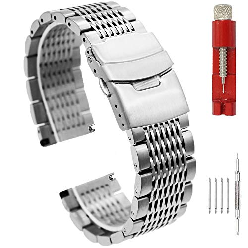 Brushed Silver 22mm Watch Band Stainless Steel Bracelet Watch Strap