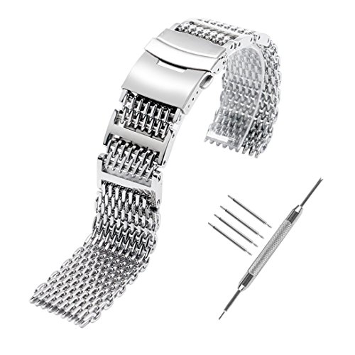 YISUYA Shark MESH 22MM Full Stainless Steel Watch Band Heavy Duty Diving Dive