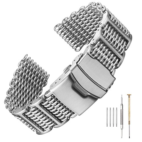 20/22/24mm H-Link Shark Stainless Steel Mesh Strap Wrist Watch Band Heavy Duty
