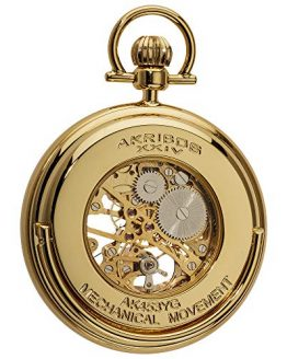 Akribos XXIV Men's Mechanical Skeleton Pocketwatch - Sunray Pattern Dial