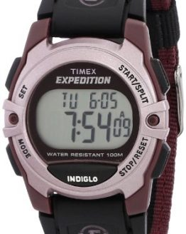 Timex Unisex Expedition Mid-Size Digital CAT Plum Stripe Nylon Strap Watch