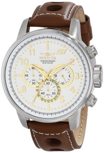"""Invicta Men's S1 """"Rally"""" Stainless Steel Watch with Brown Leather Band"""
