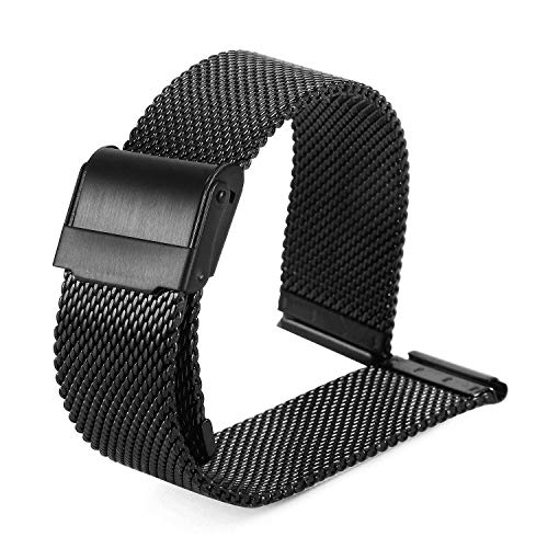 BUREI Black Stainless Mesh Replacement Watch Band 20mm