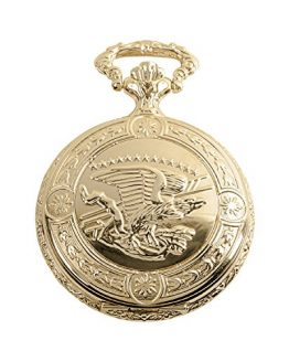 Daniel Steiger Flying Eagle Luxury Vintage Hunter Pocket Watch with Chain