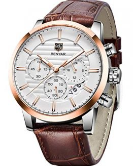 BENYAR Chronograph Waterproof Watches Business and Sport Design Brown