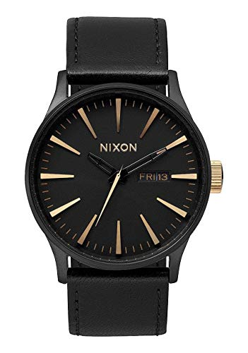 Nixon Sentry Leather Matte Black and Gold Men's Watch
